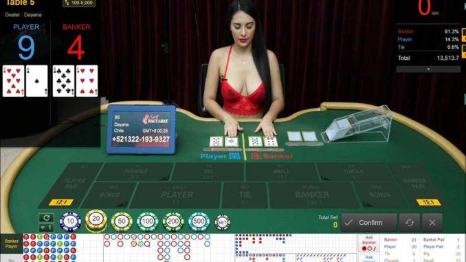 ตัวอย่างการเล่นคาสิโนสด ในเว็บ SBOBET